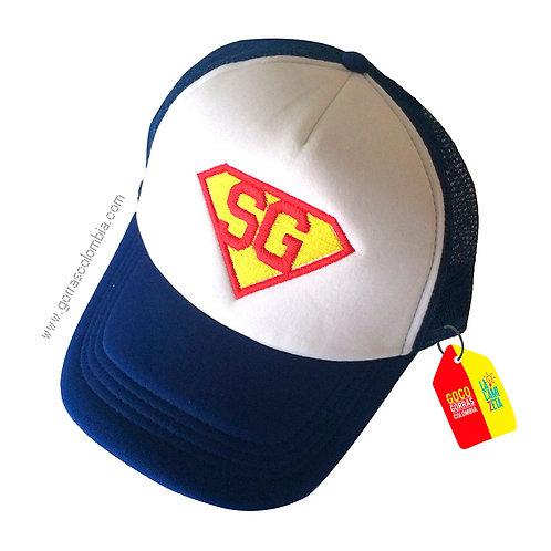 gorra azul frente blanco personalizada super iniciales