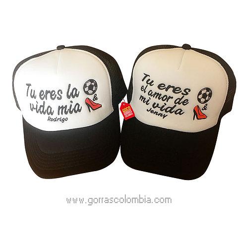 gorras negras frente blanco para pareja mi vida