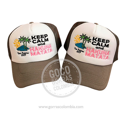 gorras cafes frente blanco para amigas keep calm and hakuna matata