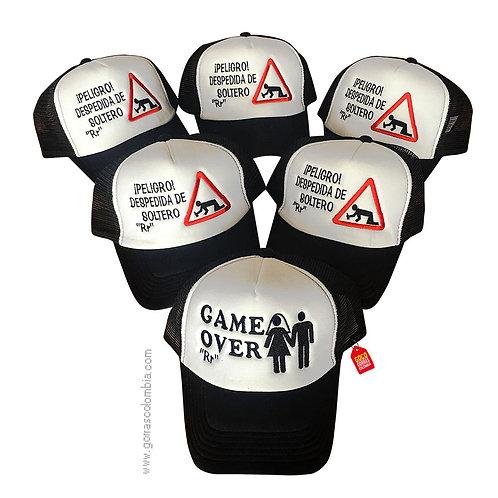gorras negras frente blanco para fiesta despedida de soltero