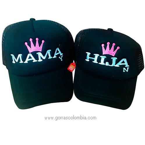 gorras negras unicolor para familia mamá e hija