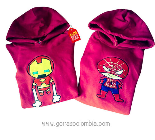 busos rojos con capota para pareja spiderman e ironman
