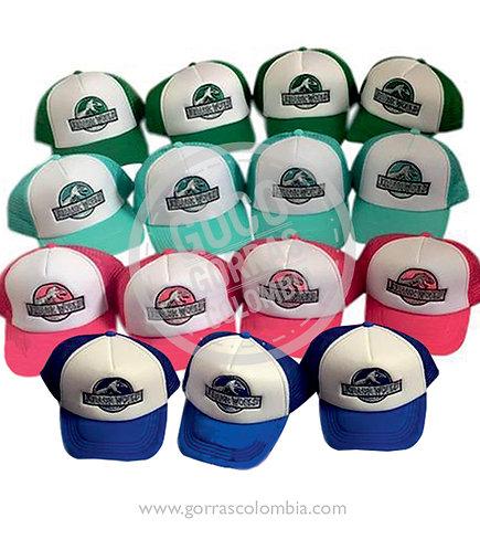 gorras varias frente blanco para fiesta jurassic world
