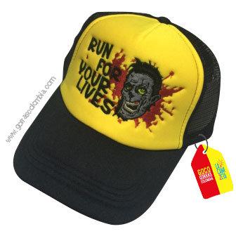 gorra negra frente amarillo personalizada run for your lives