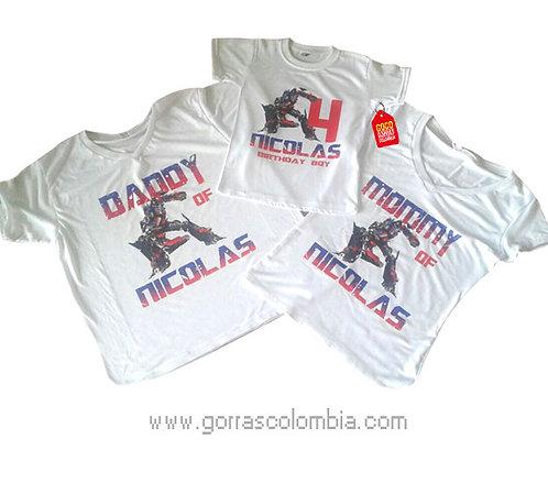 camisetas blancas para familia de transformers