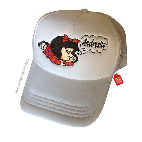 gorra blanca unicolor personalizada mafalda