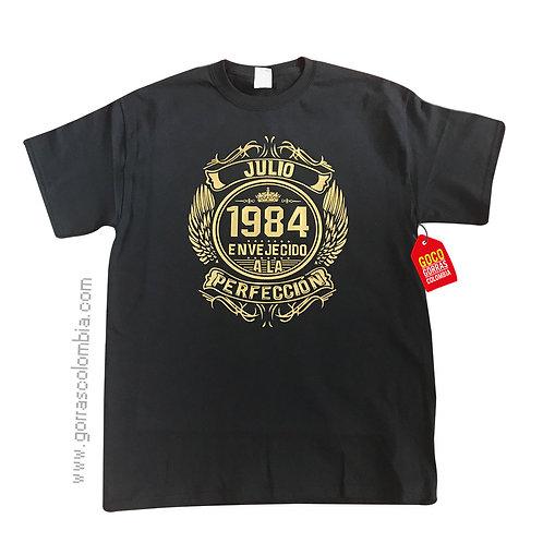 camiseta negra personalizada envejecido a la perfeccion
