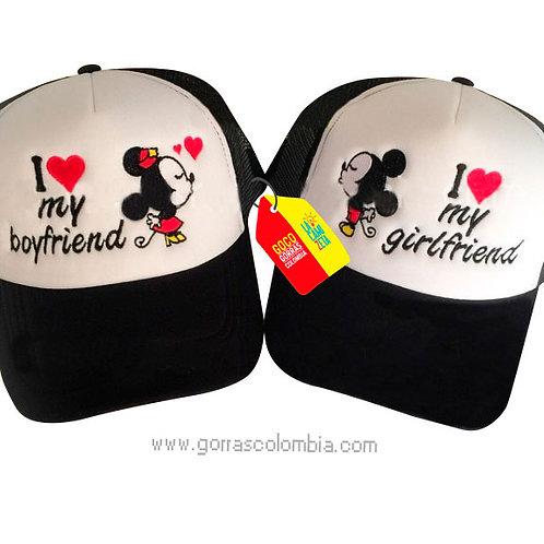 gorras negras frente blanco para pareja boyfriend y girlfriend mickey