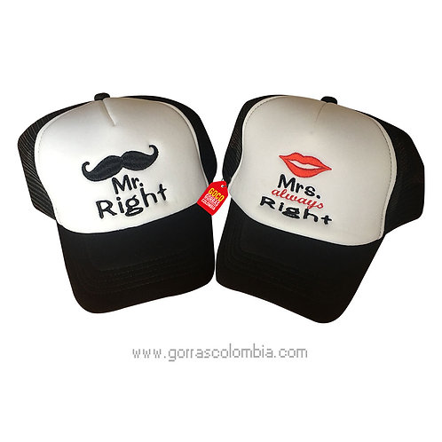 gorras negras frente blanco para pareja mr y mrs right