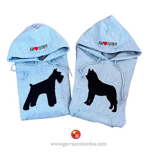 busos grises con capota para pareja perros mascotas