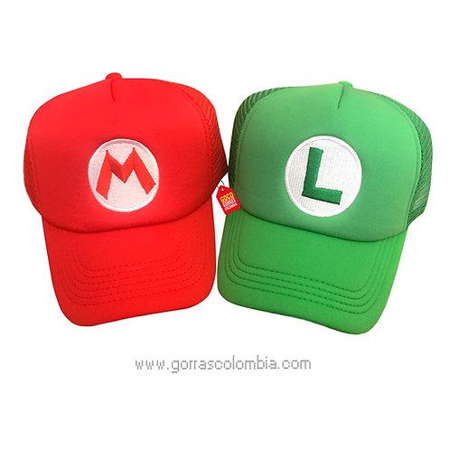 gorras roja y verde unicolor para pareja mario y luigi