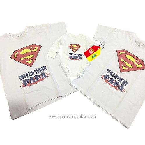 camisetas blancas para familia super papa