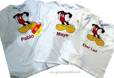 camisetas blancas para familia cuerpo de mickey