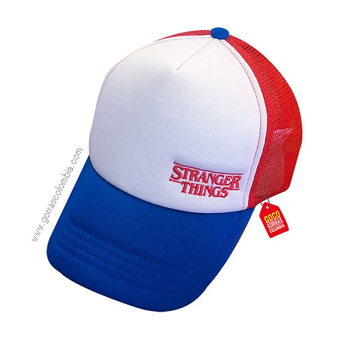 gorra azul y roja frente blanco personalizada stranger things
