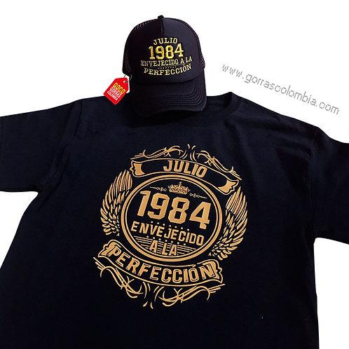 camiseta y gorra negra personalizada envejecido a la perfeccion
