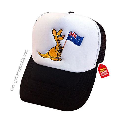 gorra negra frente blanco para niño canguro inglaterra