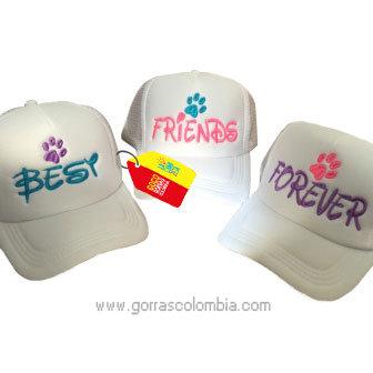 gorras blancas unicolor para amigas best friends forever huella