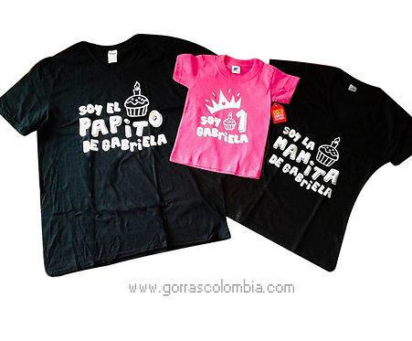 camisetas negras y fucsia para familia de cumpleaños