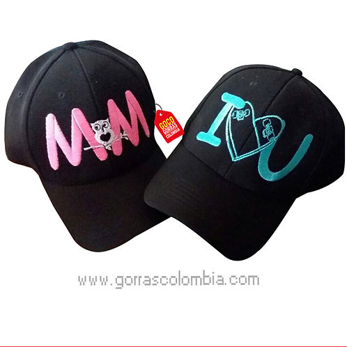 gorras negras unicolor para pareja i love you