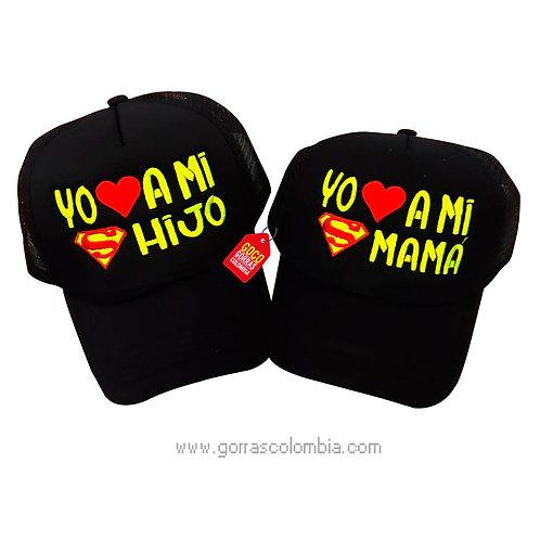 gorras negras unicolor para familia super mamá y super hijo