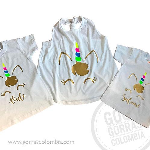 camisetas blancas para familia unicornio colores