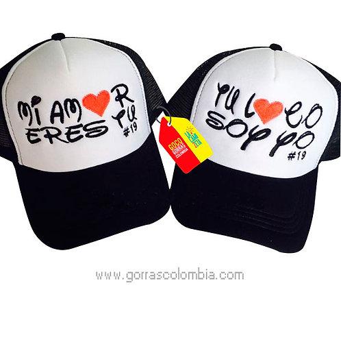 gorras negras frente blanco para pareja mi amor eres tu corazon