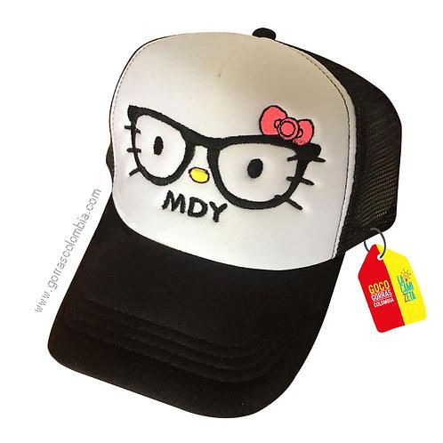 gorra negra frente blanco para niña hello kitty gafas