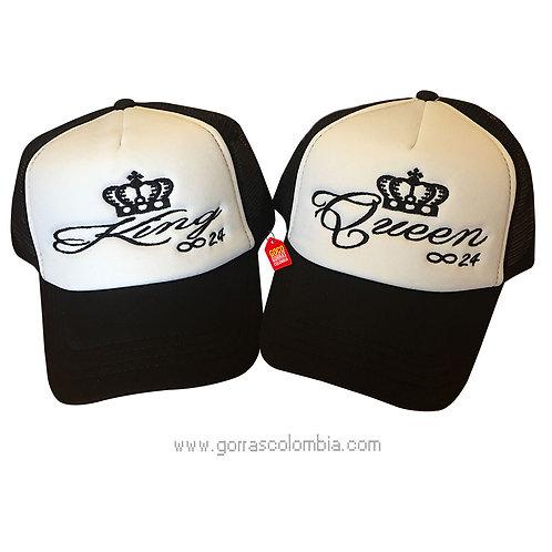 gorras negras frente blanco para pareja king y queen infinito