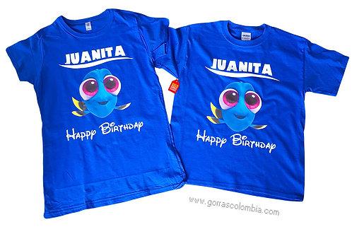 camisetas azules para fiesta de buscando a dory birthday
