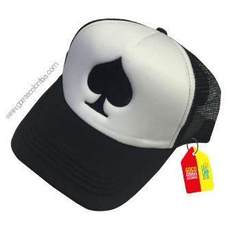 gorra negra frente blanco personalizada poker pica