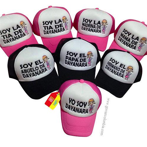 gorras negra y fucsia frente blanco para familia doctora juguetes