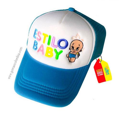 gorra azul frente blanco para niño estilo baby