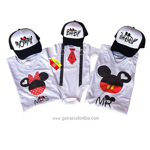 camisetas y gorras para familia de mickey daddy mommy y baby