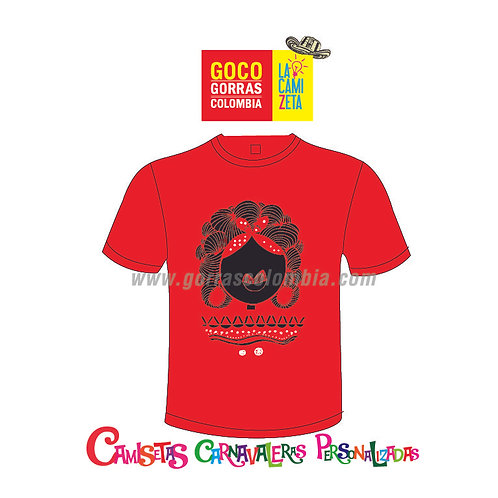 camiseta roja carnaval de barranquilla pulby negra