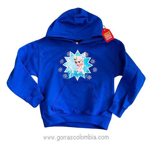 buso azul con capota para niña de frozen
