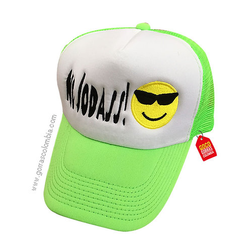 gorra verde frente blanco personalizada no jodass emoji