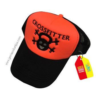 gorra negra frente naranja personalizada crossfitter