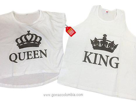 camisetas blancas para pareja queen y king