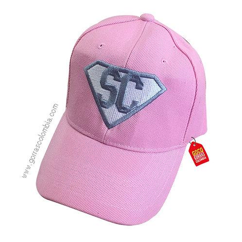 gorra rosada unicolor personalizada super iniciales