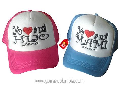 gorras azul y fucsia frente blanco para familia mami e hijo
