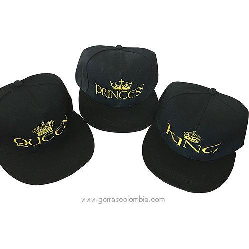 gorras negras unicolor para familia king, queen y princess