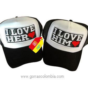 gorras negras frente blanco para pareja her y him