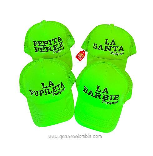 gorras verde neon unicolor para amigas pupigrupo