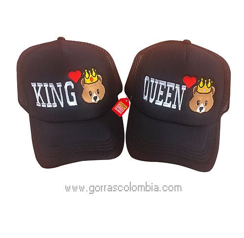 gorras negras unicolor para pareja king y queen emojic