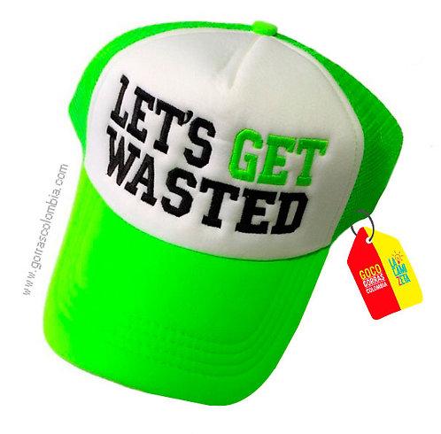 gorra verde neon frente blanco personalizado lets get wasted