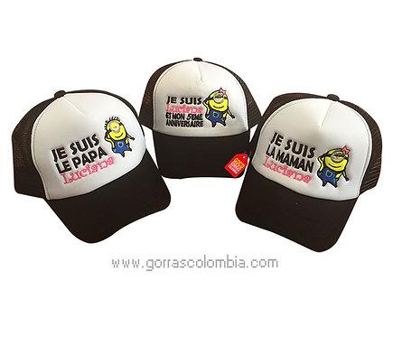 gorras negras frente blanco para familia minions