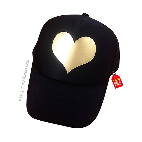 gorra negra unicolor personalizada corazon