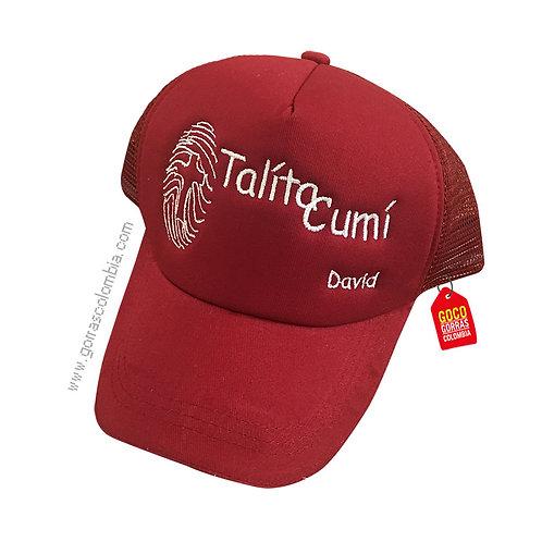 gorra vinotinto unicolor personalizada talita cumi