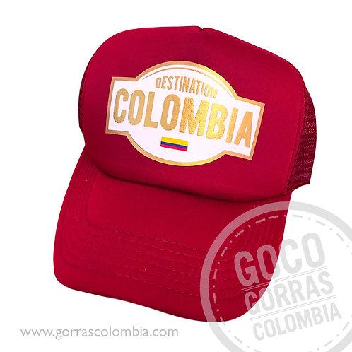 gorra roja unicolor personalizada destination colombia