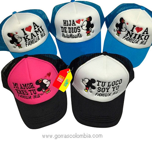 gorras varias frente blanco para familia mickey